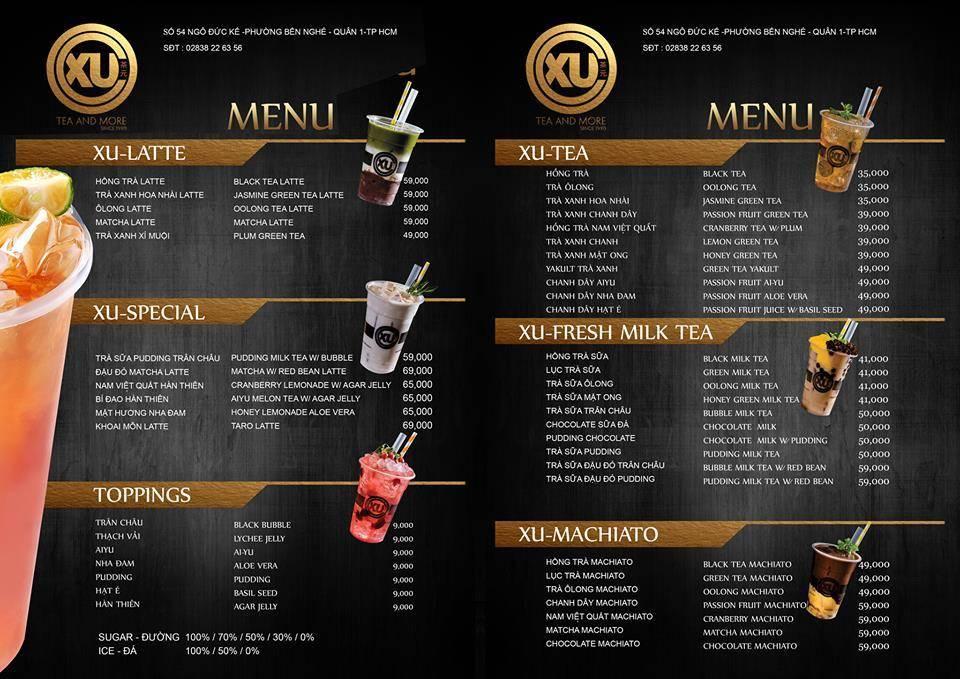mẫu thiết kế menu quán trà sữa