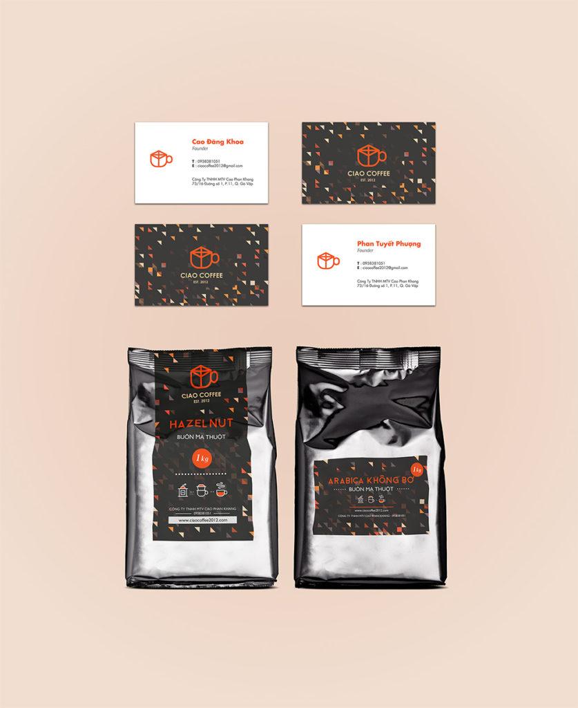 Name card kết hợp bao bì sản phẩm coffe