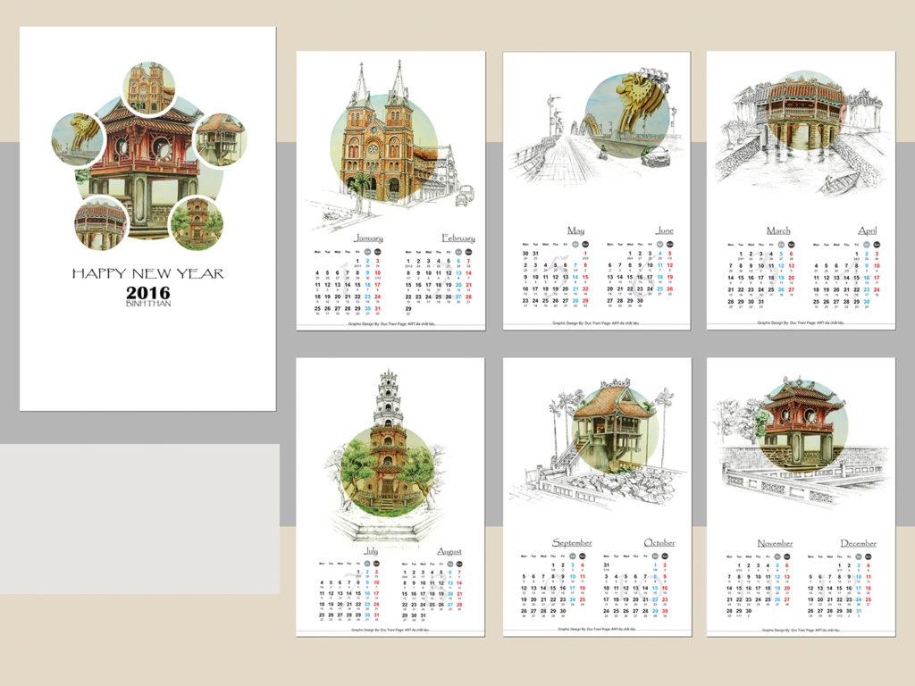 Mẫu lịch để bàn truyền thống