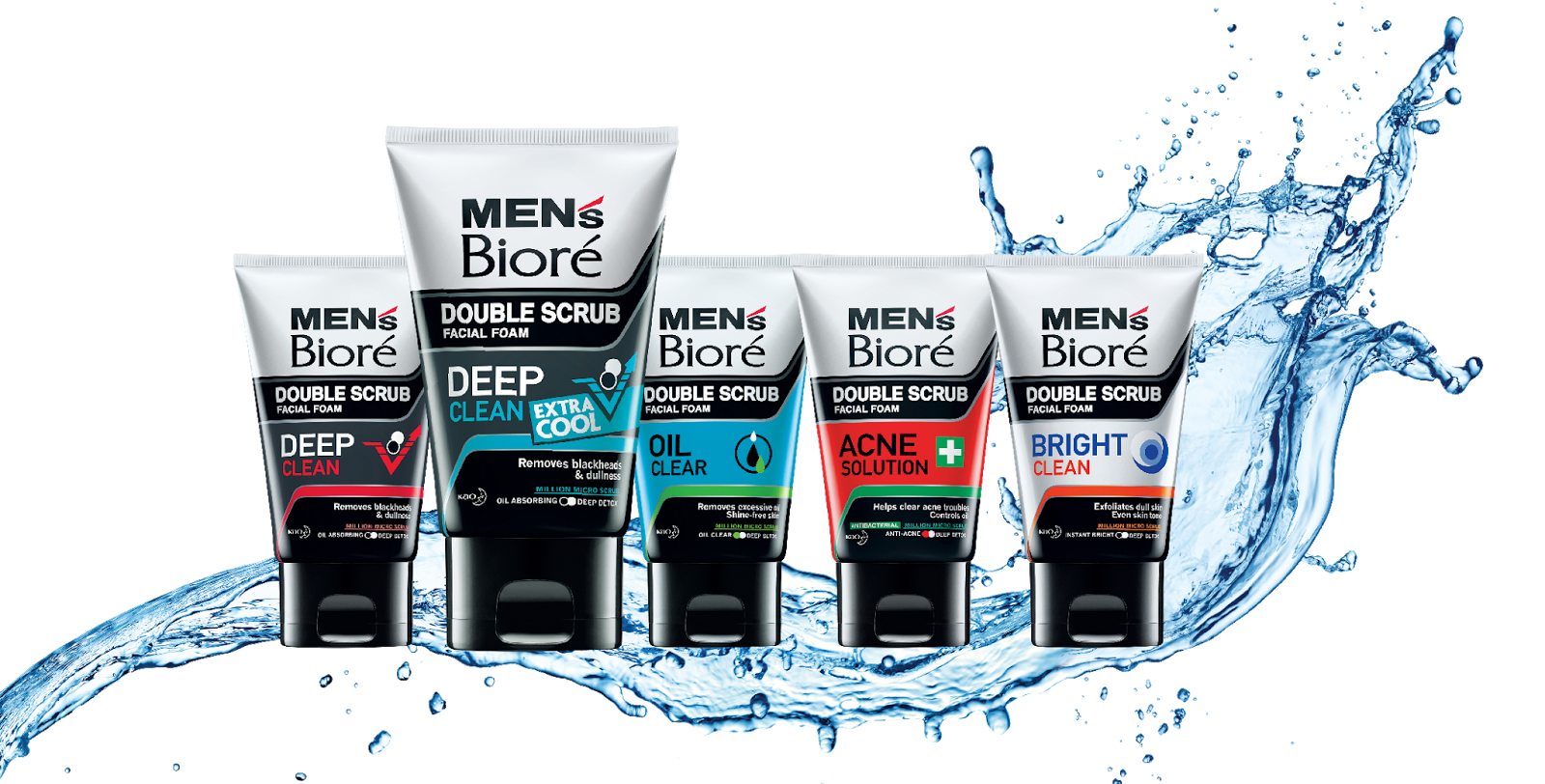Mens Biore Double Scrub Group Shot with water splash