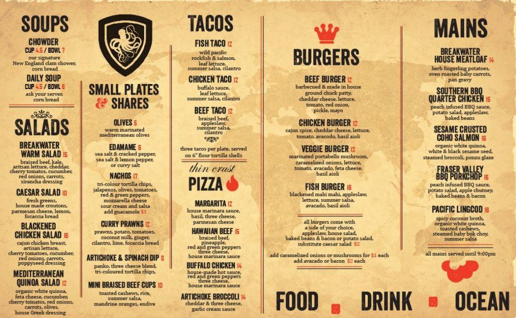 Menu fast food và pizza