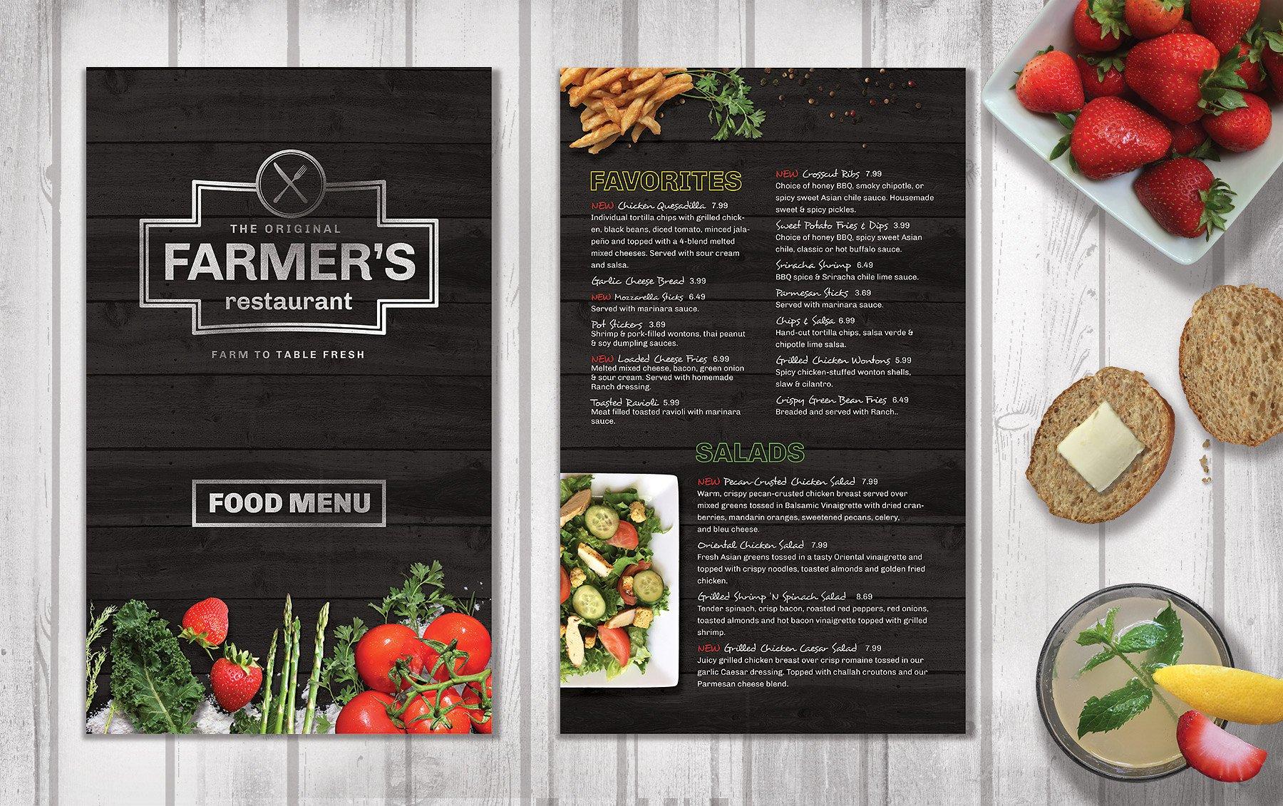 Thiết kế menu cho nhà hàng phương tây theo tông màu tối