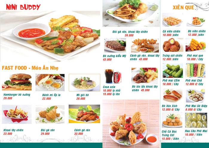 menu do an nhanh